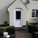 white front door and porch