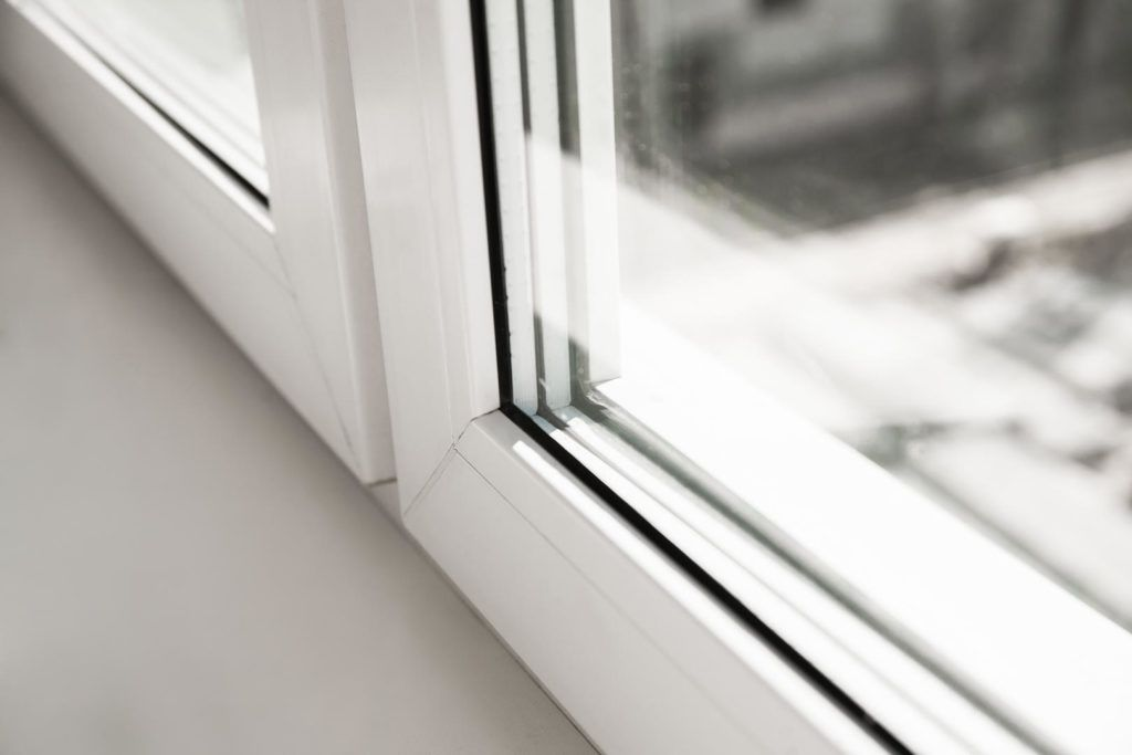 close up of white upvc double glazing